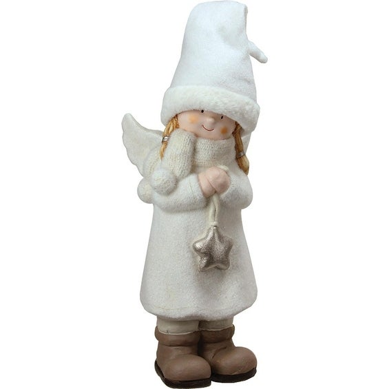 "19.75"" Decorative White Winter Girl Angel with Star Christmas Table Top Figure"