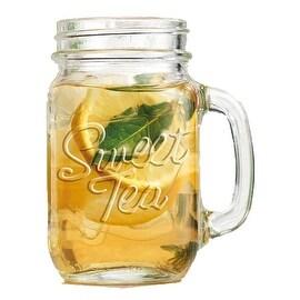 Palais Glassware Mason Jar Tumbler Mug with Handle - 16 Ounces - Set of 4 ('Sweet Tea' Embossed)