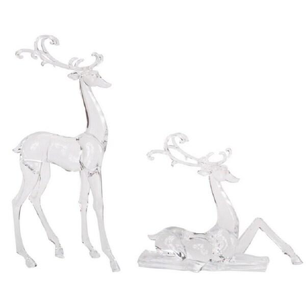 """Set of 2 Clear Deer Table Top Figurines 17.75"""" - N/A"""