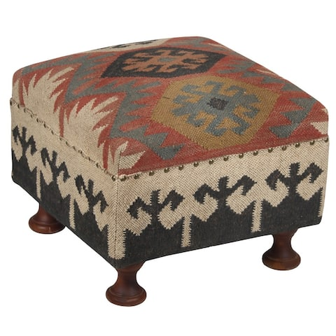 "Handmade Indo Upholstered Footstool - 19"" L x 19"" W x 14"" H"