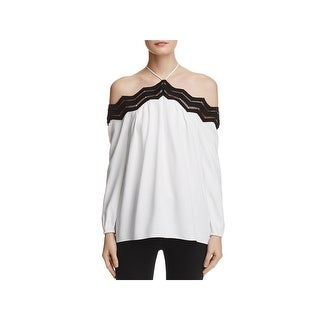 Ramy Brook Womens Sandy Blouse Contrast Trim Off-The-Shoulder