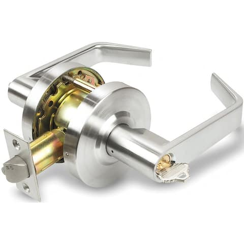 INOX BL0770 BL Series Single Cylinder Keyed Entry Classroom Door Lever Set with 07 Lever and Round Rose - Satin Chrome