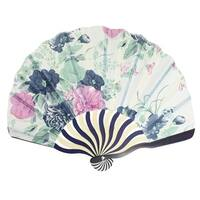 Unique Bargains Blue Pink Flowers Print Curve Bamboo handle Folded Hand Fan for Lady