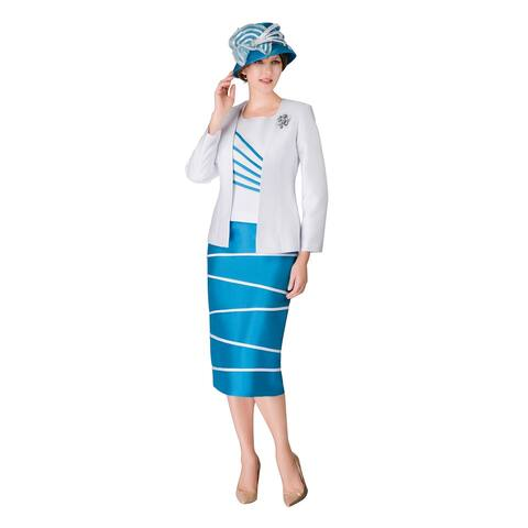 Giovanna Collection Women's Irregular Stripe 3-pc Skirt Suit