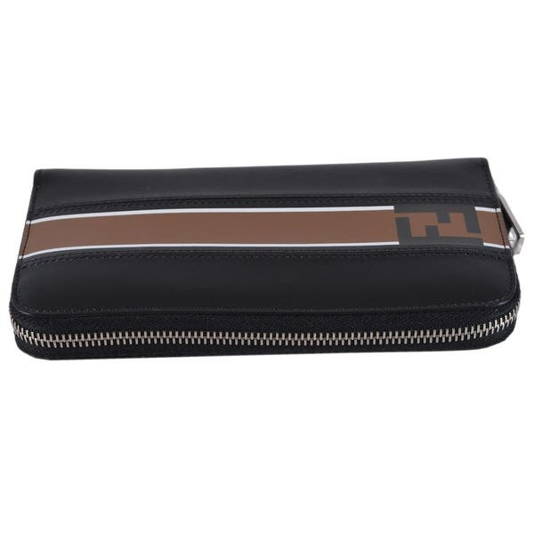 aa7e502bef2a ... Fendi Men s Black Leather FOREVER Zip Around FF Continental Wallet  Clutch - 8