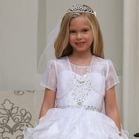 Angels Garment Girls White Rhinestone Tiara Communion Flower Girl Veil