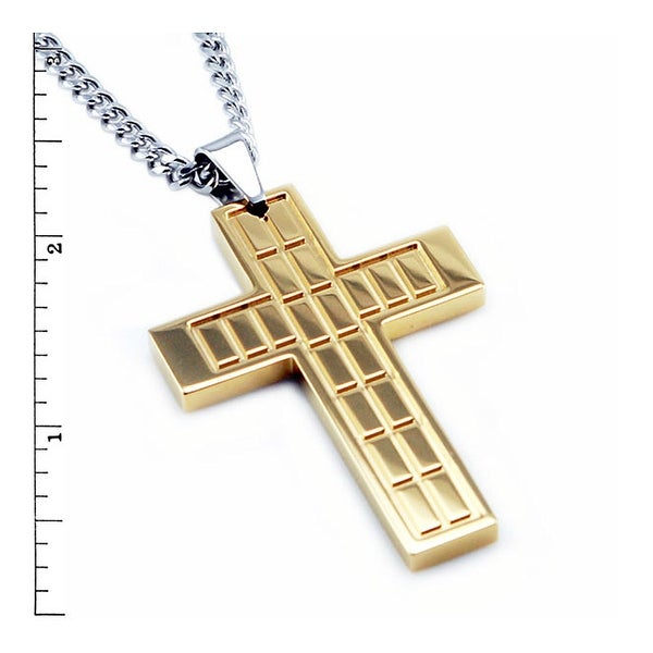 Stainless Steel Men's Gold Plated Cross Pendant - 24 inches