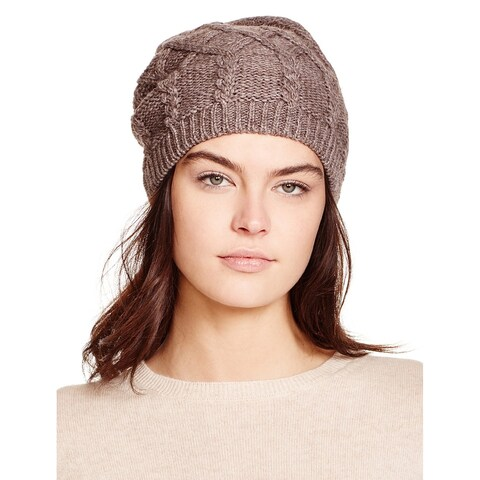 Aqua Ladies Brown Taupe Slouchy Cable Knit Beanie Made In Italy