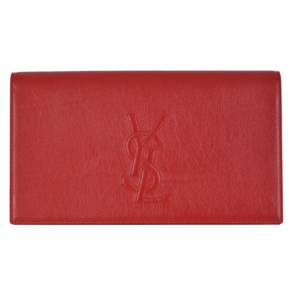 20617f14b33 Saint Laurent YSL 361120 Red Leather Large Belle de Jour Clutch Handbag Bag  - 11