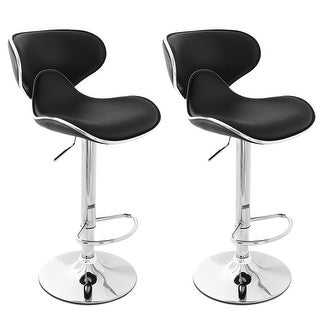 Belleze Modern Adjustable Faux Leather Swivel Bar Stools Chairs Sets of 2 (Black)