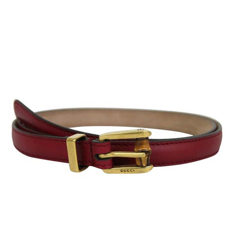 6e22db2f145 Gucci Women s Bamboo Buckle Red Leather Belt 339065 6236 (80 32) - 80