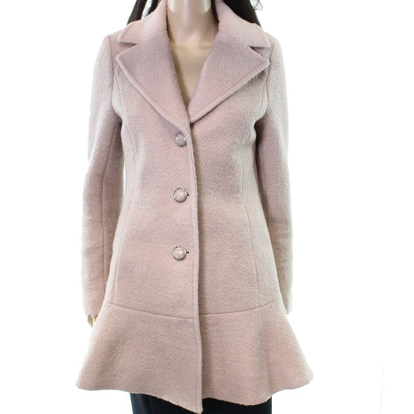 a216bac3810 Kensie NEW Pink Women  x27 s Size XS Textured Knit Buttoned Peplum Coat