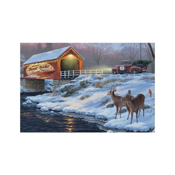 Rivers edge 1776 rivers edge led wrapped canvas art 24x16 boat rides w/deer