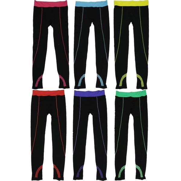 Women 6 Pack Contrast Color Band Black Athletic Sports Full-Length Leggings