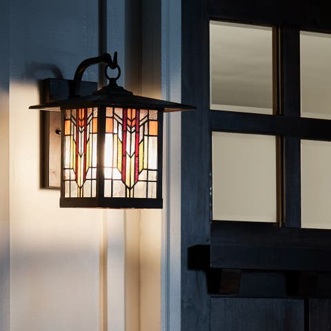 """River of Goods Red Stained Glass and Oil Rubbed Bronze 1-Light Outdoor Lantern Wall Sconce - 10.75"""" x 9"""" x 11.75"""""""