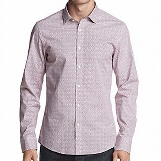 Michael Kors NEW Purple Mens Size Large L Button Down Slim-Fit Shirt