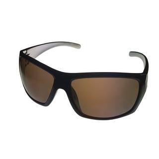 Perry Ellis Mens Sunglass PE04 3 Dark Brown Plastic Wrap, Brown Gradient Lens - Medium