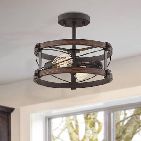 "Richwood 2-Light Rustic Semi-Flush Mount Ceiling Light with Distressed Black/Wood Tone - 12"" Dia"