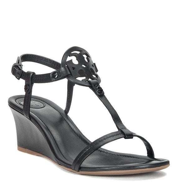c24798ebda7 Shop Tory Burch Black Miller Wedge Sandals - 8.5 - Free Shipping ...