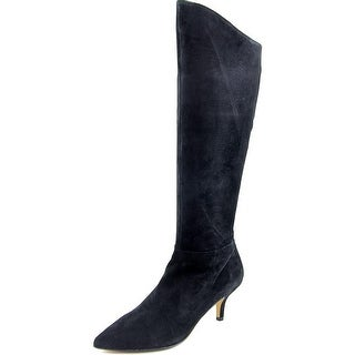 Nina Fan Pointed Toe Suede Mid Calf Boot