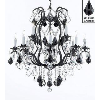 """Wrought Iron Crystal Chandelier Lighting H30"""" x W28"""""""