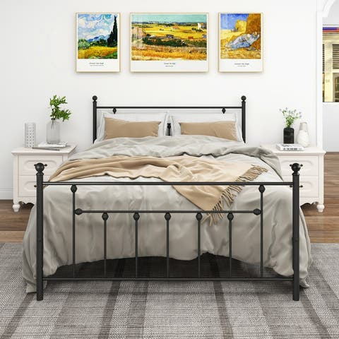 Metal Platform Bed Frame Queen Size with Headboard and Footboard