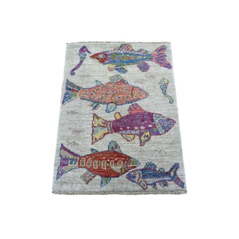 "Shahbanu Rugs Oceanic Fish Design Organic Wool Afghan Peshawar Hand Knotted Oriental Rug (2'0"" x 3'0"") - 2'0"" x 3'0"""