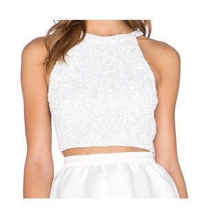 Parker NEW White Grenada Sequin Beaded Womens Keyhole 12 Tank Cami Top
