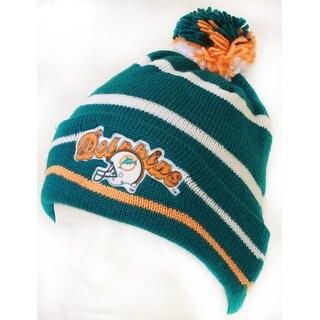 NFL Miami Dolphins Logo 7 DeadStock Cuff Knit Beanie Cap w/ Pom - Teal - Green