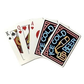Beer Neon Sign - Lantern Press Artwork (Poker Playing Cards Deck)