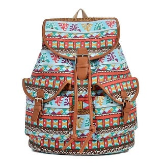 Hearty Trendy Girls Women Red Light Blue Print Exterior Pockets Backpack