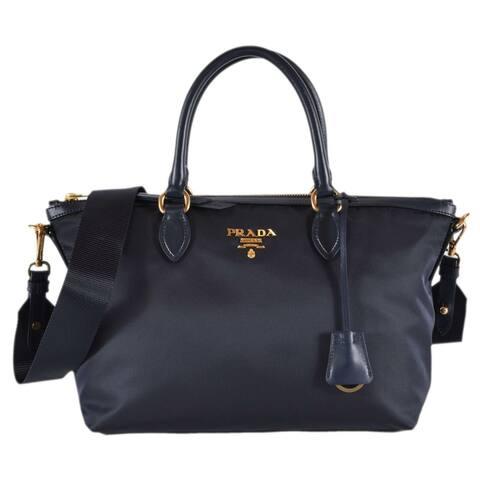 Prada 1BA104 Borsa A Mano Blue Nylon 2-Way Zip Purse Handbag Bag