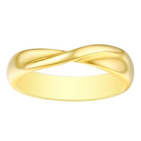 Vedantti 18k Gold Stackable Mobius Round Wedding Band, 4.50mm Wide