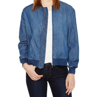 Two by Vince Camuto NEW Blue Womens Size Large L Denim Bomber Jacket