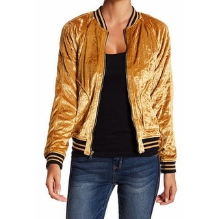 Jolt NEW Gold Womens Size XS Star-Quilted Velour Striped-Trim Bomber