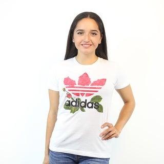 Adidas Classic Logo Roses Design Trefoil Women's White T-shirt