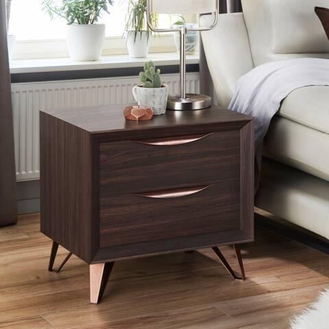 Furniture of America Umer Modern Brown 2-drawer Nightstand