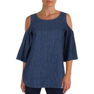 Lauren Ralph Lauren Womens Kadian Pullover Top Denim Shirred