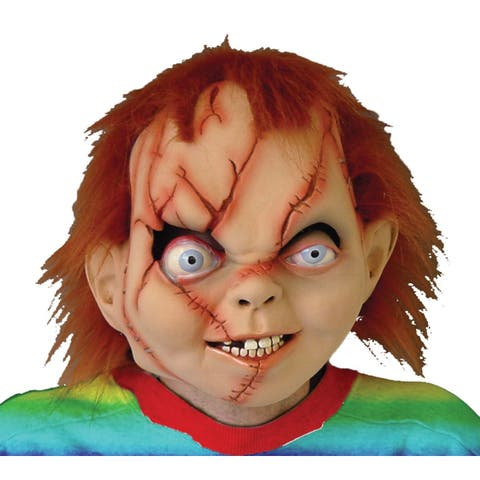 Beige and Brown Chucky Seed Full Face Halloween Boy Mask - N/A
