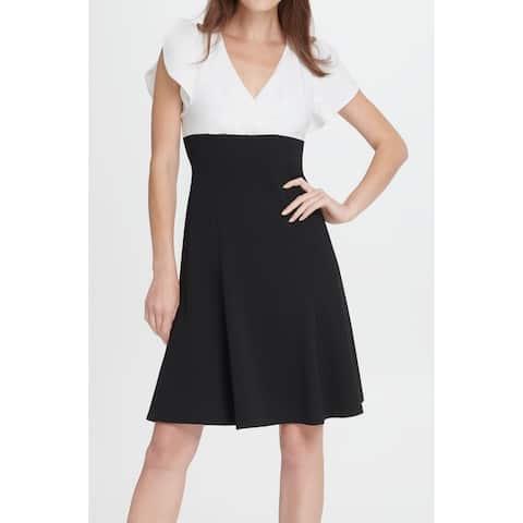 DKNY Women's Dress Black Size 6 A-Line Colorblock Flutter Sleeve