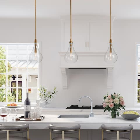 """Modern & Contemporary 1-light Pendant Hanging Ceiling Rods Lighting Fixture Gold with Seeded Glass Shade - W6""""xH12"""""""