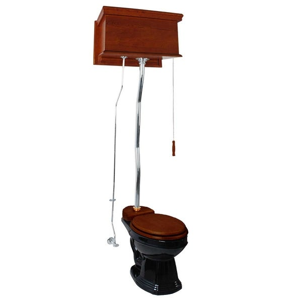 Mahogany Flat High Tank Pull Chain Water Closet With Black Bowl And Flat Z-pipe