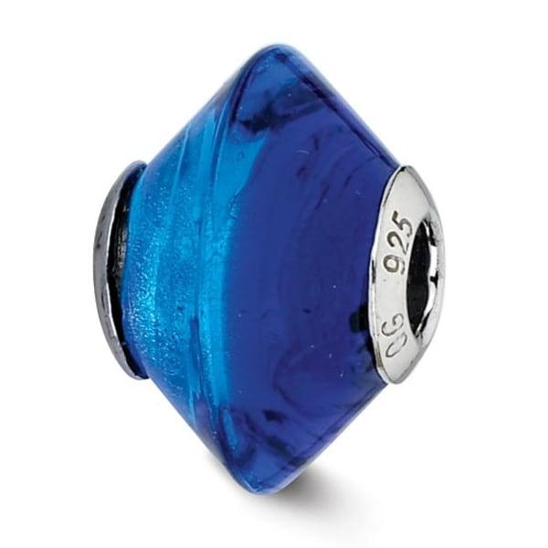 Italian Sterling Silver Reflections Blue/Light Blue Glass Bead (4mm Diameter Hole)