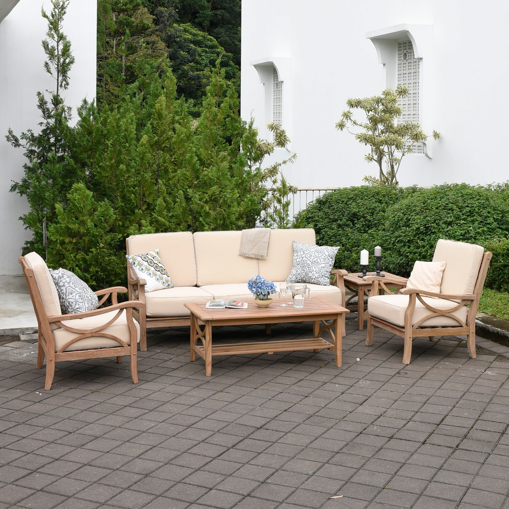 Delray 5 Piece Teak Patio Conversation Set By Havenside Home Overstock 27638969 Taupe Cushion