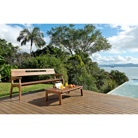 Marcelino Eucalyptus Wood Outdoor 3-seat Bench by Havenside Home