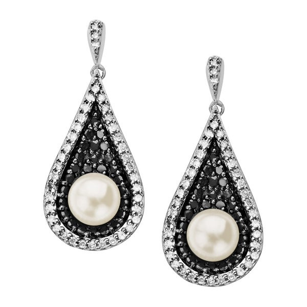 5.5 mm 5/8 ct Black & White Diamond Freshwater Pearl Drop Earrings in Sterling Silver