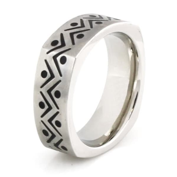 Squared Stainless Steel Ring w/ Fiesta Design