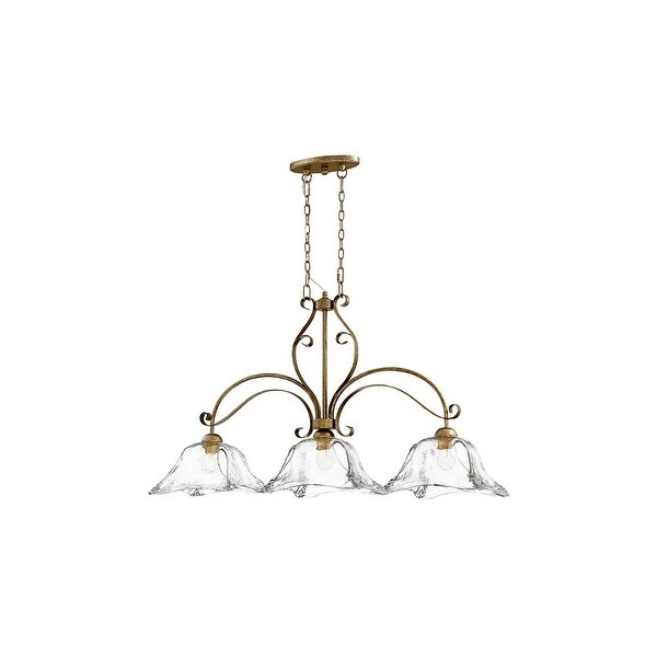 "Millennium Lighting 7463 Chatsworth 3 Light 13"" Wide Chandelier with Fluted Glass Dome Shades - vintage gold"