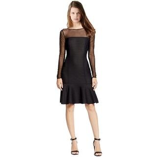 Lauren by Ralph Lauren Illusion Fit & Flare Long Sleeve Cocktail Dress - 10