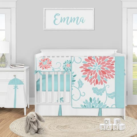 Turquoise and Coral Floral Collection Girl 5-piece Nursery Crib Bedding Set - Teal Blue and Pink Emma Flower